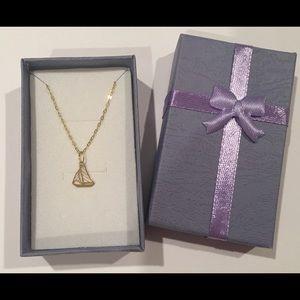 Gold 14 K sailing ship pendant & GP 925 necklace.